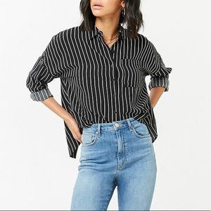 Forever 21 Striped Tulip Back Top Blouse Sz S